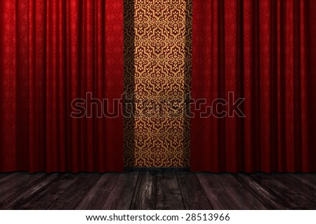 Interior with red curtain