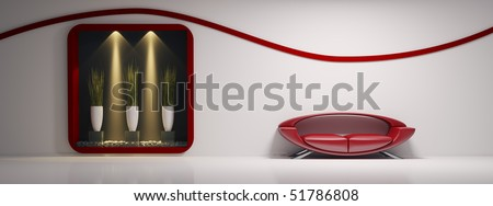 Interior with red sofa and plants 3d render - stock photo
