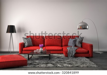 interior with red sofa. 3d illustration - stock photo
