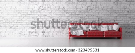 Interior with red sofa over the white brick wall panorama 3d render - stock photo