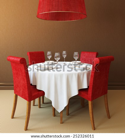 Interior with round table and four red chairs. 3d render. - stock photo