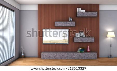 interior with shelf, vase and tv - stock photo