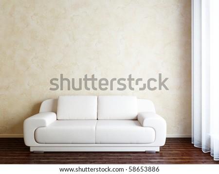 interior with sofa - stock photo