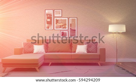 Country Purple Living Room Modern Couch Stock Illustration