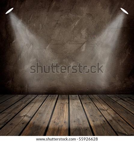 interior with spotlights - stock photo