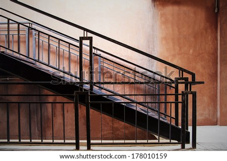 Interior with staircase. Architecture abstract background. - stock photo