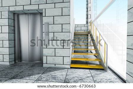 interior with stairs and elevator - stock photo