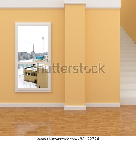 interior with stairway - stock photo