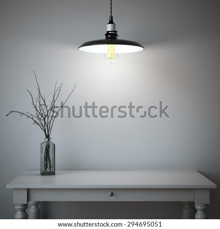 Interior with table and lamp. 3d rendering - stock photo