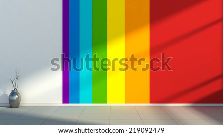 Interior with the colors of the rainbow - stock photo