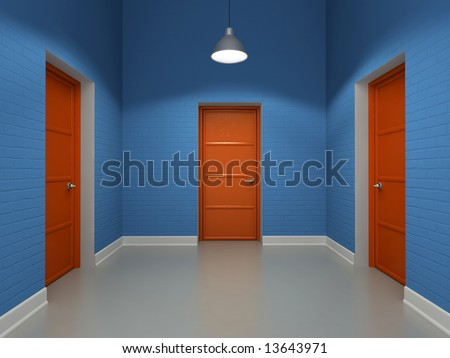 Interior with three red doors 3D - stock photo