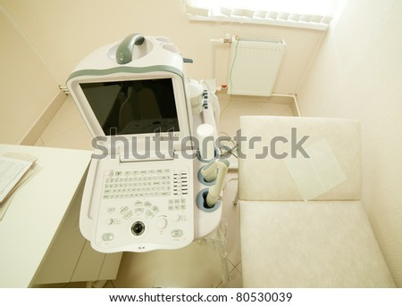 Interior with ultrasound equipment in medical clinic