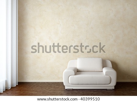 Interior with white chair - stock photo