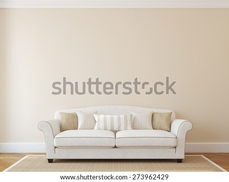 Interior with white classic couch near empty beige wall. 3d render. - stock photo
