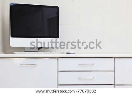 interior with white furniture and modern computer on desk - stock photo