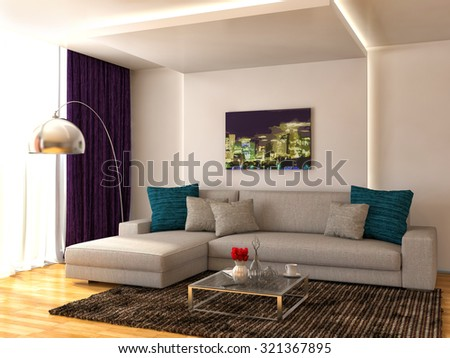 interior with white sofa. 3d illustration - stock photo