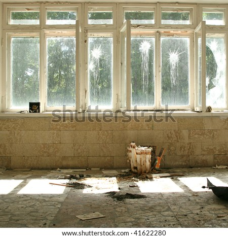 interior with windows - stock photo