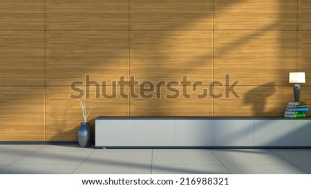 interior with wood trim, vase and lamp - stock photo