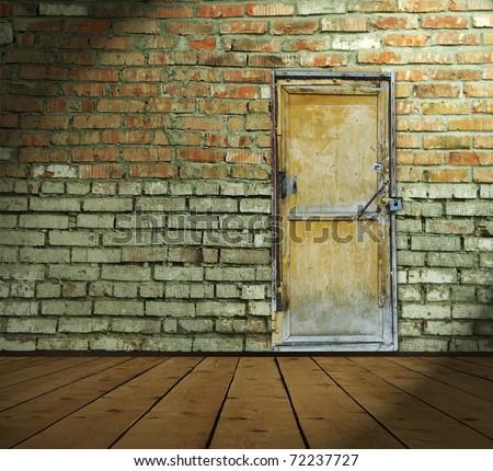 interior with wooden door - stock photo