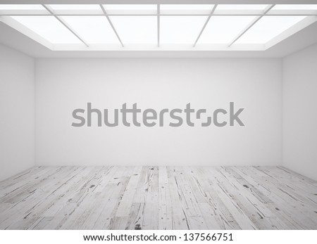 interior with wooden parquet and window on ceiling - stock photo