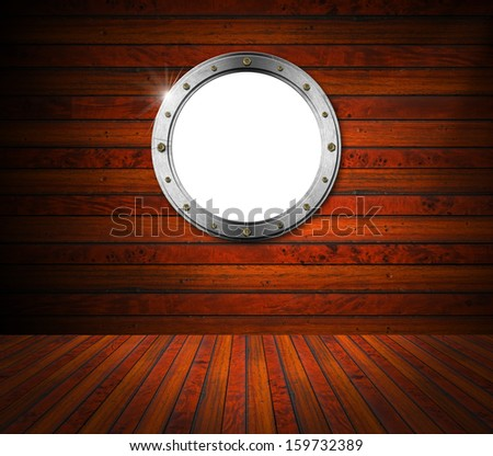 Interior Wooden Room with Metal Porthole / Room with wooden floor and wall with Metallic porthole with bolts and empty hole  - stock photo