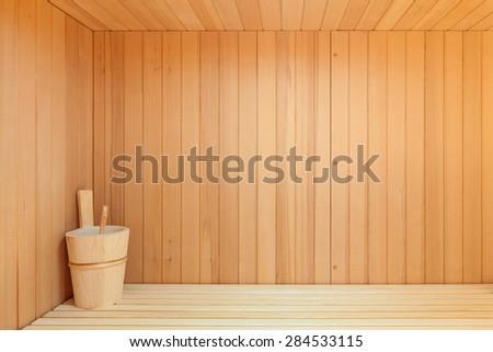 Interior, wooden sauna of a modern house - stock photo