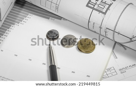 interior work plan  with coin money for business concepts with retro filter