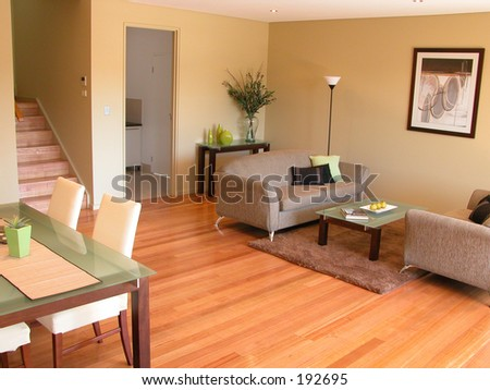 Interiors - living room, dining room - stock photo