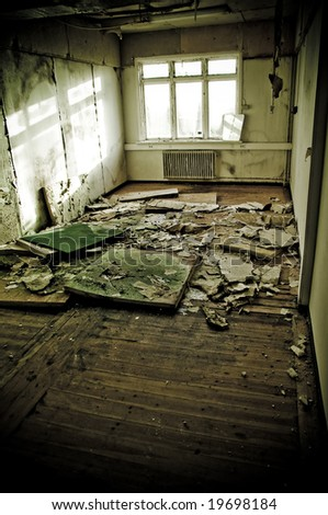 interiors of a neglected house in really bad condition  filled with mold and devastation - stock photo