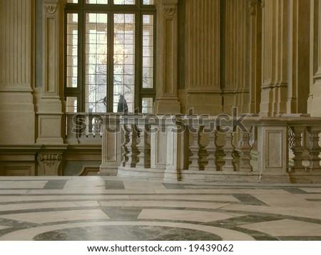 interiors of baroque residence Palazzo Madama, Turin, Italy - stock photo
