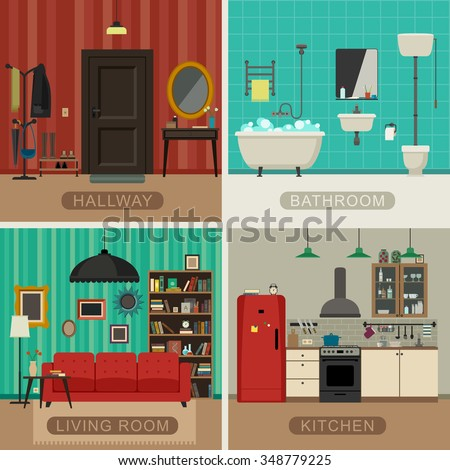 living room bedroom bathroom kitchen interiors living room kitchen bathroom stock vector 18975