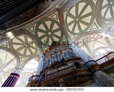Interiors of the Cathedral on Zocalo in the Mexico City - stock photo