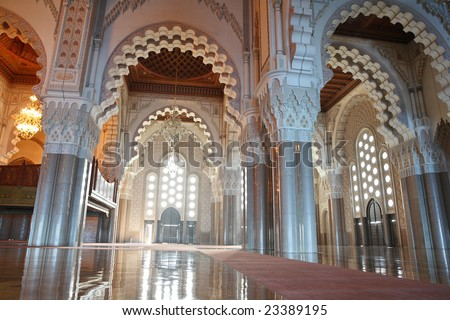 Interiors (praying hall) of the Mosque of Hassan II in Casablanca, Morocco - stock photo