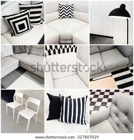 Interiors with black and white furniture. Collage of nine photos.