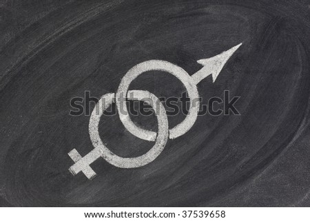 interlaced gender symbols pulling in opposite directions sketched with white chalk on blackboard - concept of problems in marriage and relationship, gender equal opportunity idea - stock photo