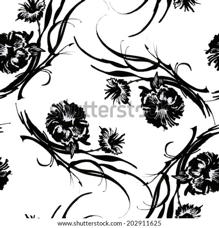 Interlacing Black flowers sketch seamless pattern on white background