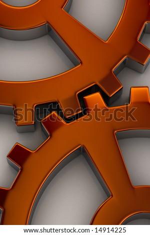 Interlocking gear wheels in orange over white background - stock photo