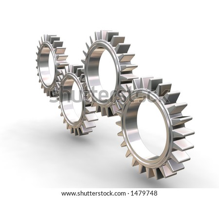 Interlocking gears - 3D render