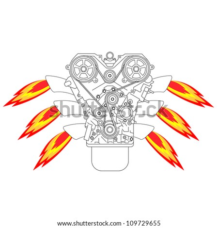 Internal combustion engine, with fire from the exhaust pipe.  illustration. - stock photo