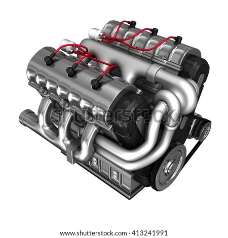 Internal combustion engine with turbine. 3d illustration. Isolated on white - stock photo