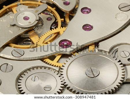 internal mechanism of mechanical watches - stock photo