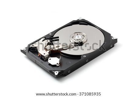 Internal of harddisk isolated on white