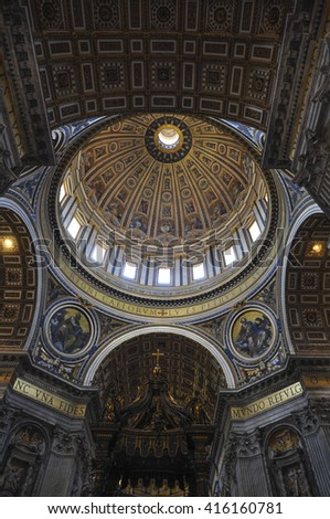 Internal of St. Peter's Basilica, Rome Italy - stock photo