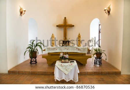"""Internal part of the church located in a fortress of """"Palanok"""", located in the city of Mukachevo (Ukraine) - stock photo"""