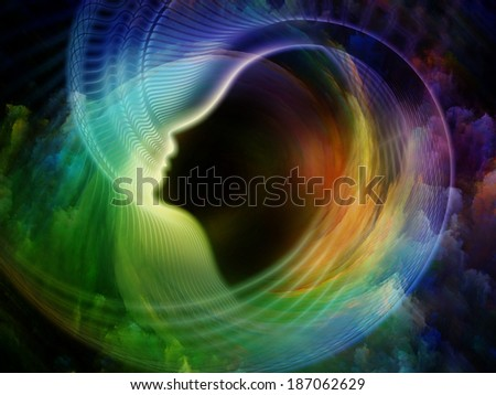 Internal Recurrence series. Composition of human profile and fractal colors on the subject of inner reality, mental health, imagination, thinking and dreaming - stock photo