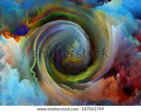 Internal Recurrence series. Interplay of human profile and fractal colors on the subject of inner reality, mental health, imagination, thinking and dreaming - stock photo