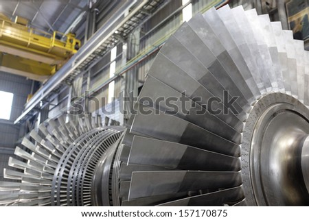 Internal rotor of a steam Turbine at workshop - stock photo