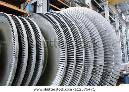 Internal rotor of a steam Turbine in a workshop - stock photo