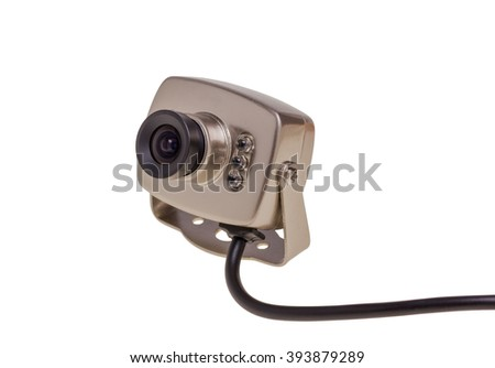 Internal security surveillance camera with night vision LED backlight isolated on white background - stock photo