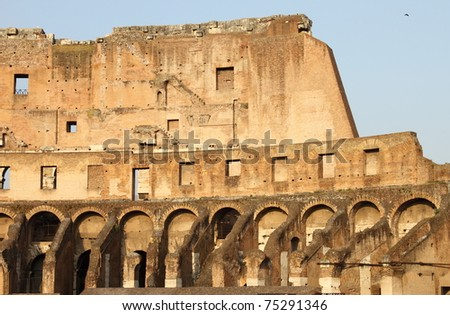 Internal side of Colosseum. Rome (Italy) - stock photo